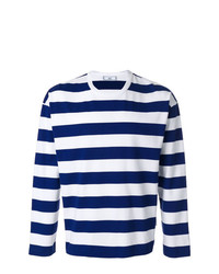 T-shirt à manche longue à rayures horizontales blanc et bleu marine AMI Alexandre Mattiussi