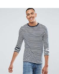 T-shirt à manche longue à rayures horizontales blanc et bleu marine Asos