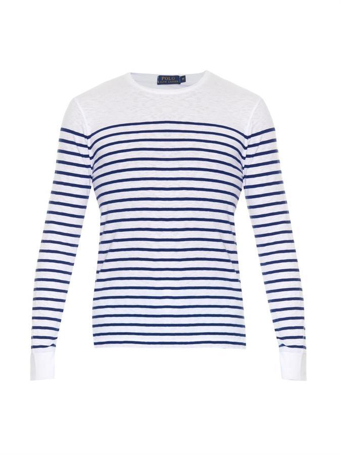 ad401e4384d849 ... T-shirt à manche longue à rayures horizontales blanc et bleu marine Polo  Ralph Lauren