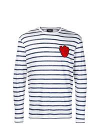 T-shirt à manche longue à rayures horizontales blanc et bleu marine DSQUARED2
