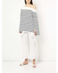T-shirt à manche longue à rayures horizontales blanc et bleu marine Goen.J