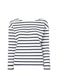 T-shirt à manche longue à rayures horizontales blanc et bleu marine Loveless