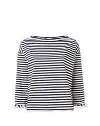 T-shirt à manche longue à rayures horizontales blanc et bleu marine Moncler