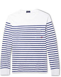 T-shirt à manche longue à rayures horizontales blanc et bleu marine Polo Ralph Lauren