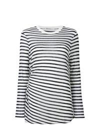 T-shirt à manche longue à rayures horizontales blanc et bleu marine T by Alexander Wang