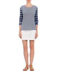 T-shirt à manche longue à rayures horizontales blanc et bleu
