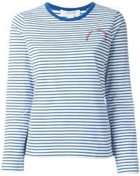 T-shirt à manche longue à rayures horizontales blanc et bleu Marc Jacobs