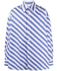 T-shirt à manche longue à rayures horizontales blanc et bleu Marni