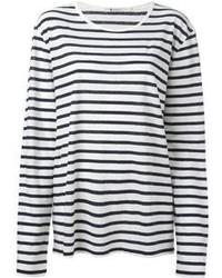 T-shirt à manche longue à rayures horizontales blanc et noir