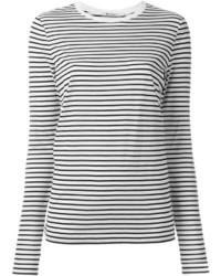 T-shirt à manche longue à rayures horizontales blanc et noir Alexander Wang
