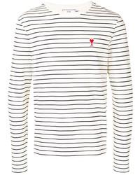 T-shirt à manche longue à rayures horizontales blanc et noir Ami Paris