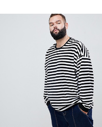 T-shirt à manche longue à rayures horizontales blanc et noir ASOS DESIGN