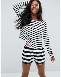 T-shirt à manche longue à rayures horizontales blanc et noir Asos