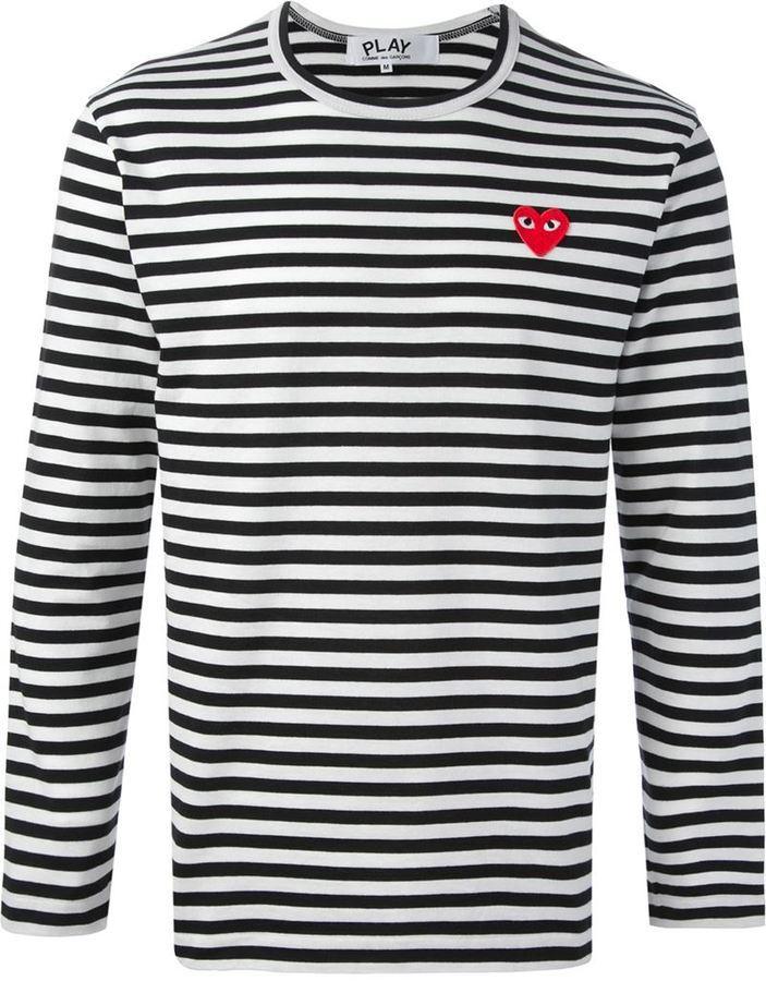 T-shirt à manche longue à rayures horizontales blanc et noir Comme des Garcons