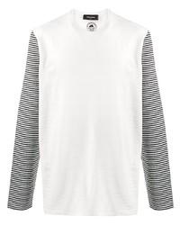 T-shirt à manche longue à rayures horizontales blanc et noir DSQUARED2