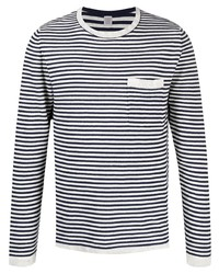 T-shirt à manche longue à rayures horizontales blanc et noir Eleventy