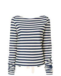 T-shirt à manche longue à rayures horizontales blanc et noir Erika Cavallini