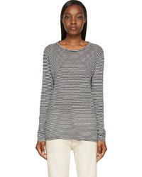 T-shirt à manche longue à rayures horizontales blanc et noir Etoile Isabel Marant