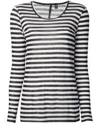 T-shirt à manche longue à rayures horizontales blanc et noir Joe's Jeans