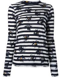 T-shirt à manche longue à rayures horizontales blanc et noir Proenza Schouler