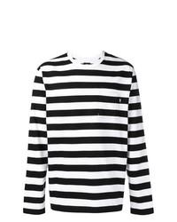 T-shirt à manche longue à rayures horizontales blanc et noir Stussy
