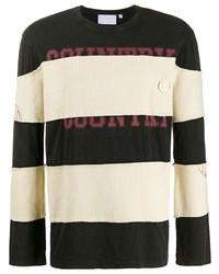 T-shirt à manche longue à rayures horizontales blanc et noir Telfar