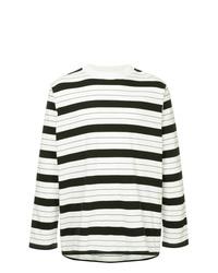 T-shirt à manche longue à rayures horizontales blanc et noir Unused