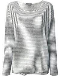T-shirt à manche longue à rayures horizontales blanc et noir Vince