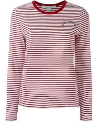 T-shirt à manche longue à rayures horizontales blanc et rouge