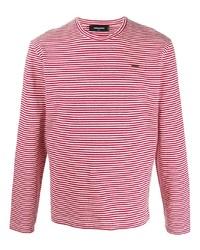 T-shirt à manche longue à rayures horizontales blanc et rouge DSQUARED2