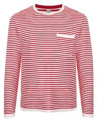T-shirt à manche longue à rayures horizontales blanc et rouge Eleventy