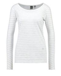 T-shirt à manche longue à rayures horizontales blanc