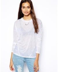 T-shirt à manche longue à rayures horizontales blanc Glamorous