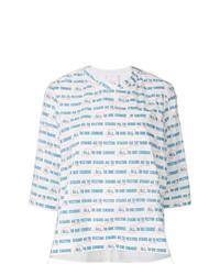 T-shirt à manche longue à rayures horizontales blanc Sacai