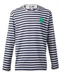 T-shirt à manche longue à rayures horizontales bleu marine et blanc