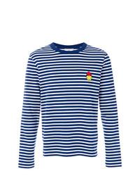 T-shirt à manche longue à rayures horizontales bleu marine et blanc AMI Alexandre Mattiussi