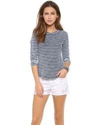 T-shirt à manche longue à rayures horizontales bleu marine et blanc BB Dakota