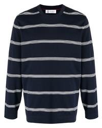 T-shirt à manche longue à rayures horizontales bleu marine et blanc Brunello Cucinelli