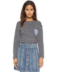 T-shirt à manche longue à rayures horizontales bleu marine et blanc Chinti and Parker