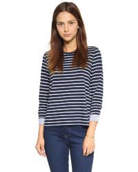 T-shirt à manche longue à rayures horizontales bleu marine et blanc Clu
