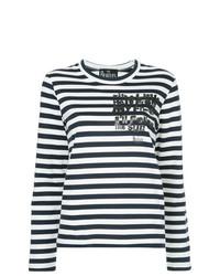 T-shirt à manche longue à rayures horizontales bleu marine et blanc Comme Des Garcons Play