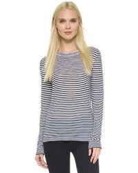 T-shirt à manche longue à rayures horizontales bleu marine et blanc Jenni Kayne