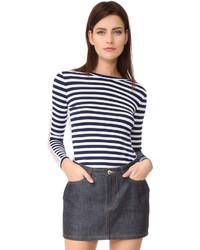 T-shirt à manche longue à rayures horizontales bleu marine et blanc Natasha Zinko