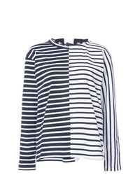 T-shirt à manche longue à rayures horizontales bleu marine et blanc Sacai