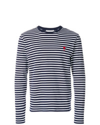 T-shirt à manche longue à rayures horizontales bleu marine AMI Alexandre Mattiussi