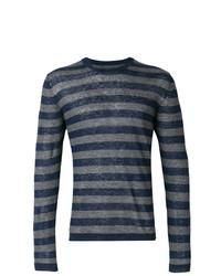 T-shirt à manche longue à rayures horizontales bleu marine Woolrich