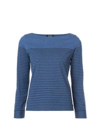 T-shirt à manche longue à rayures horizontales bleu A.P.C.