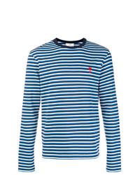 T-shirt à manche longue à rayures horizontales bleu AMI Alexandre Mattiussi