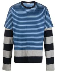 T-shirt à manche longue à rayures horizontales bleu Marni