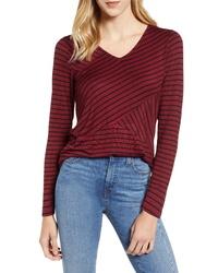 T-shirt à manche longue à rayures horizontales bordeaux